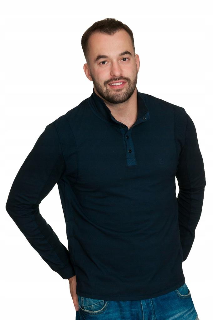 CALVIN KLEIN Bluza Męska Półgolf Granat S M SOPOT