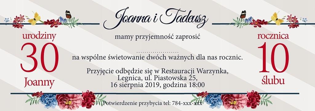 Zaproszenie na przyjęcie 2 okazje urodziny