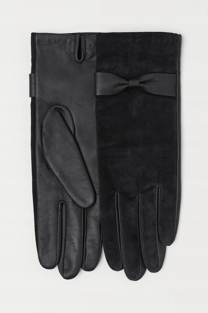 H&M skórzane, damskie rękawiczki M, metka 99 z