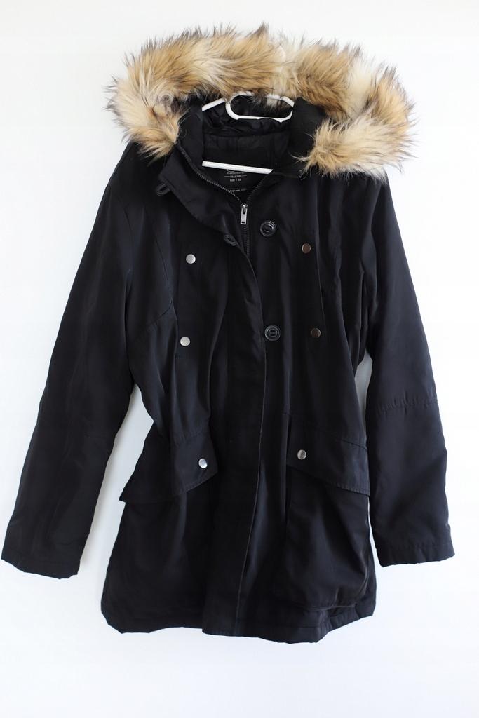 C&A 44 xxl czarna kurtka z futerkiem parka