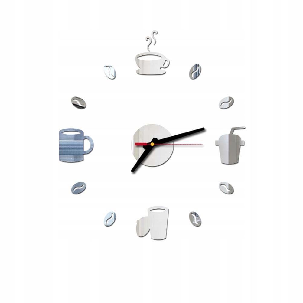 Bezramowy DIY Zegar ścienny Filiżanki do picia Kub