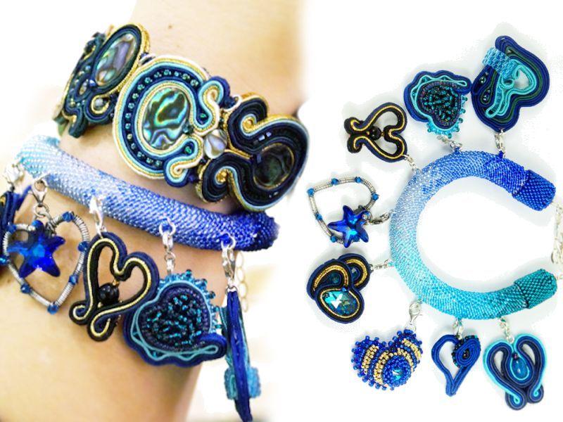 GŁĘBIA OCEANU dwie bransoletki 8 cudnych charmsów