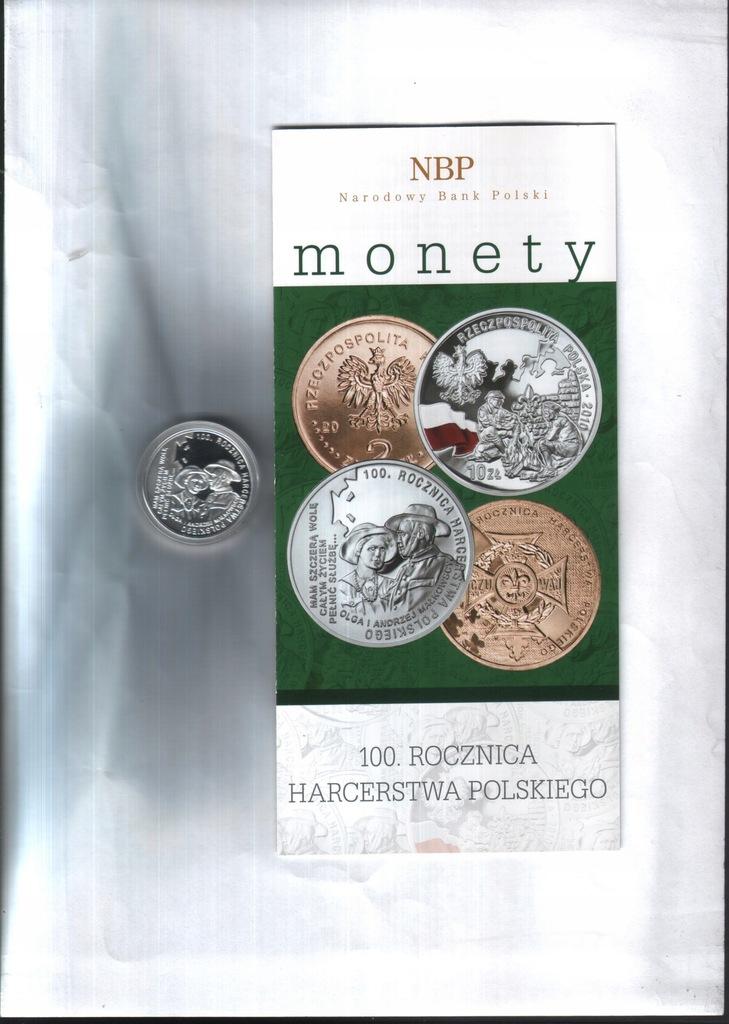 Moneta 10 zł -2010 -100. r. Harcerstwa + fold. NBP