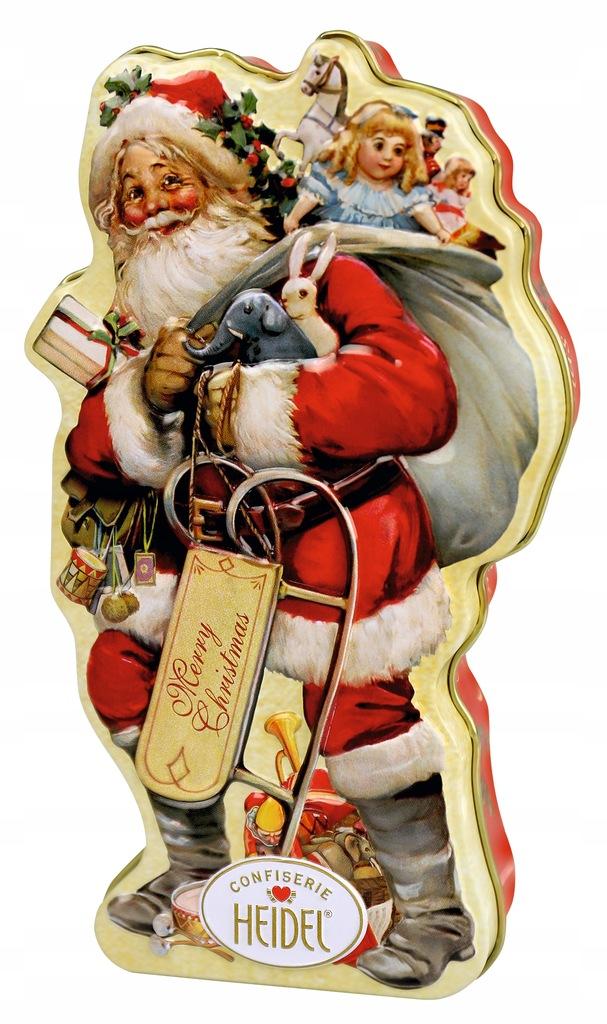Czekoladowy Święty Mikołaj piękna puszka na święta