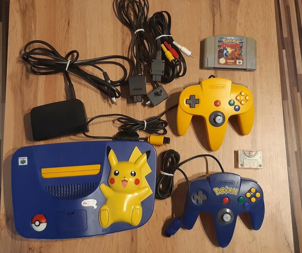 Nintendo 64 Pikachu Edition+2 pady+Pokemon Stadium