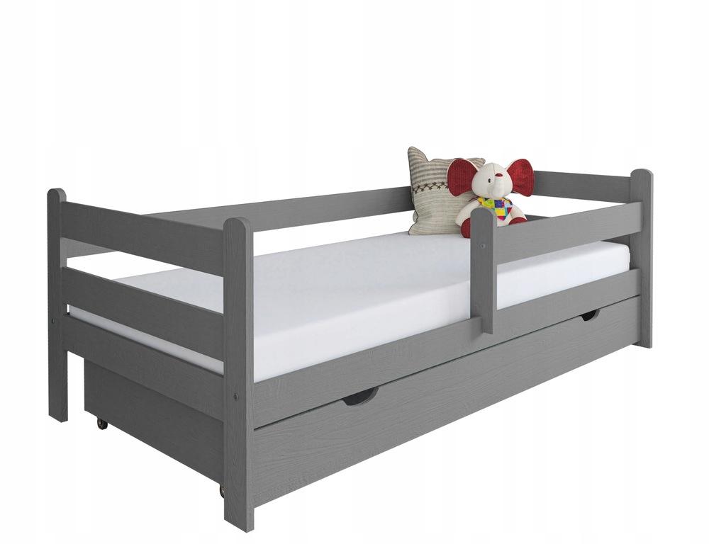 Łóżko dla dziecka z drewna Kevin 160x80 szare