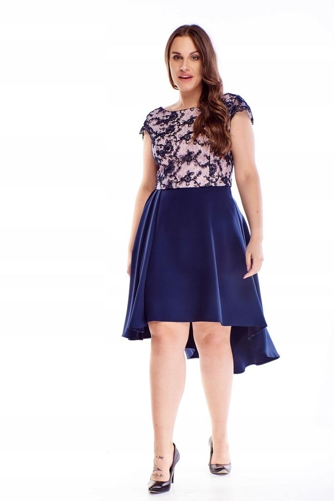Sukienka z rozkoloszowanym dołem - Granatowy 40