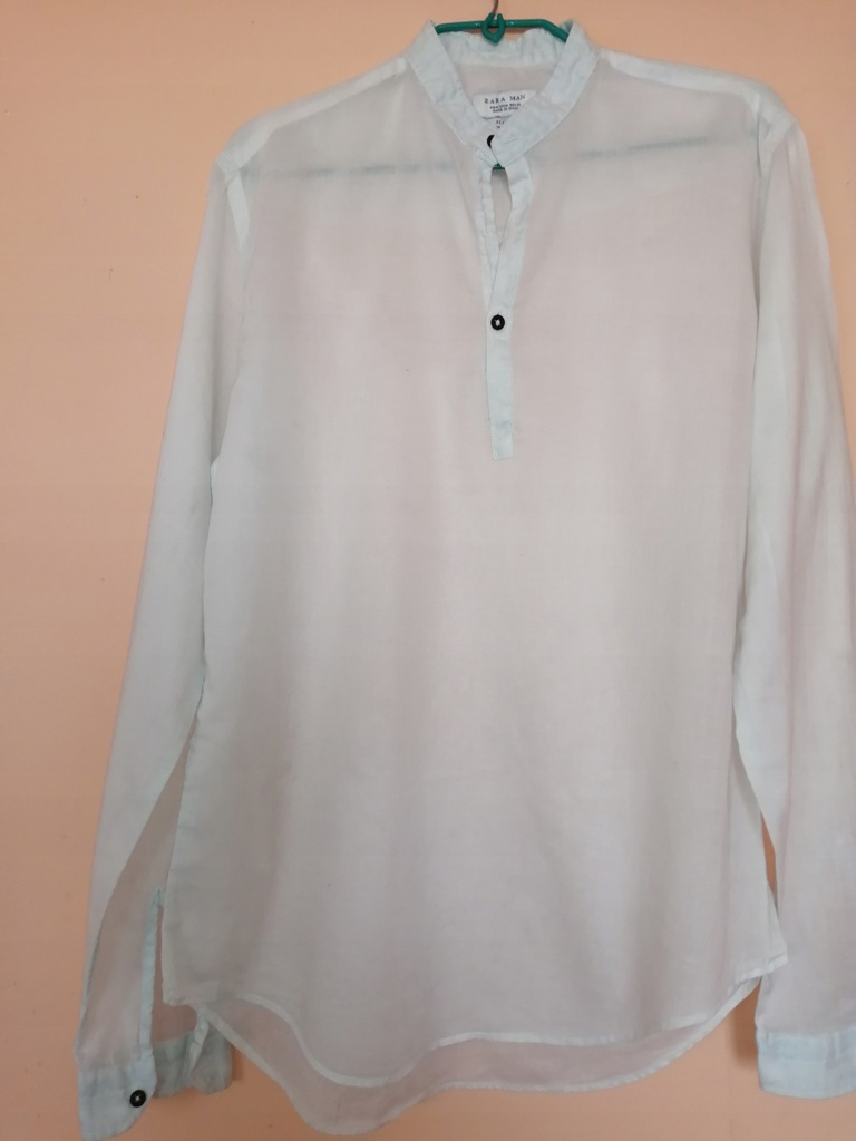 ZARA koszula z cieniutkiego płótna,SLIM FIT,stójka  qo21g