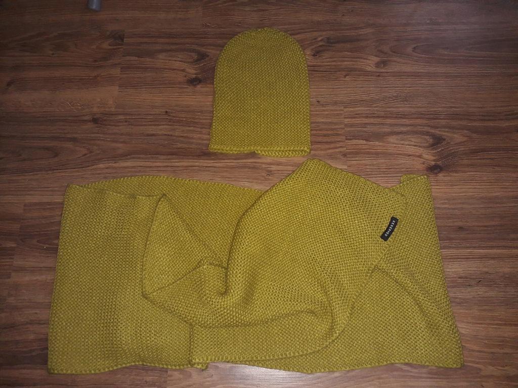 czapka i szal komplet RESERVED zielony