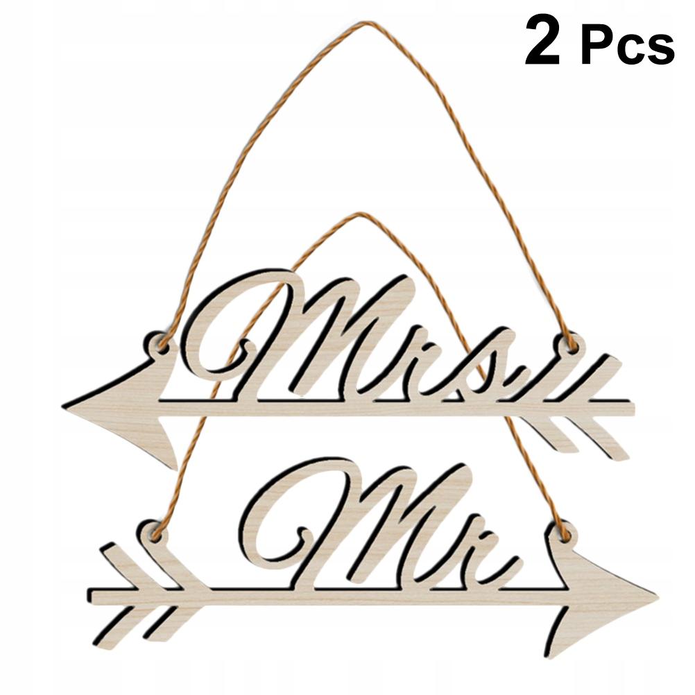 4szt. Wiszący znak Wiszący znak Ślubkowa drewniana