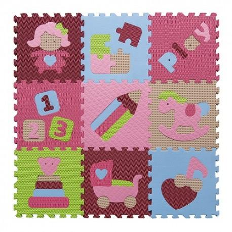 Piankowe puzzle podłogowe świat zabawek różowy - 5