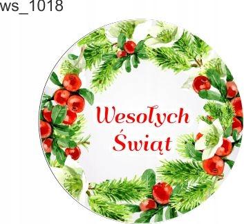 świąteczne naklejki Wesołych Świąt fi 5 cm 25 szt.
