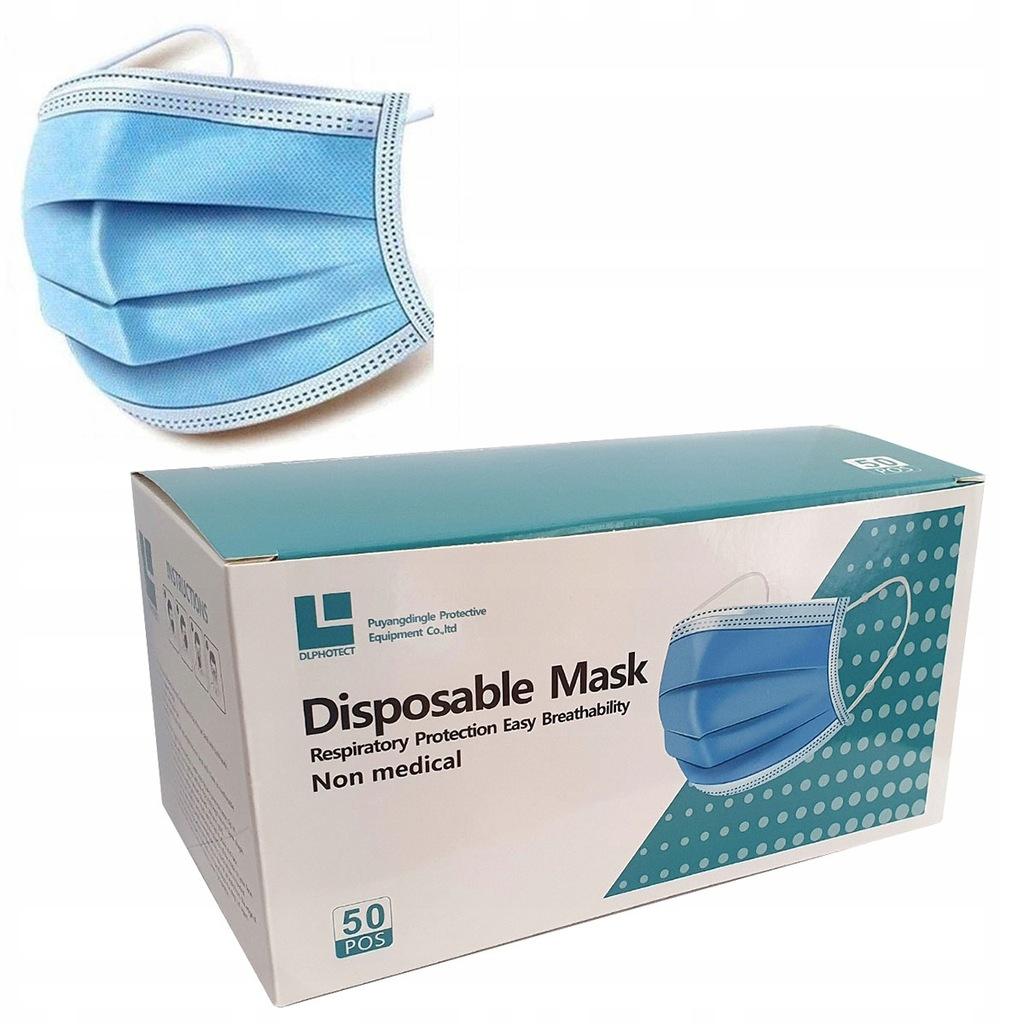 Maska maseczka ochronna 50szt. trójwarstwowa