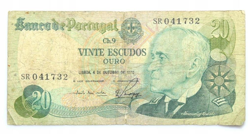 BANKNOT - Portugalia - 20 Escudos 1978