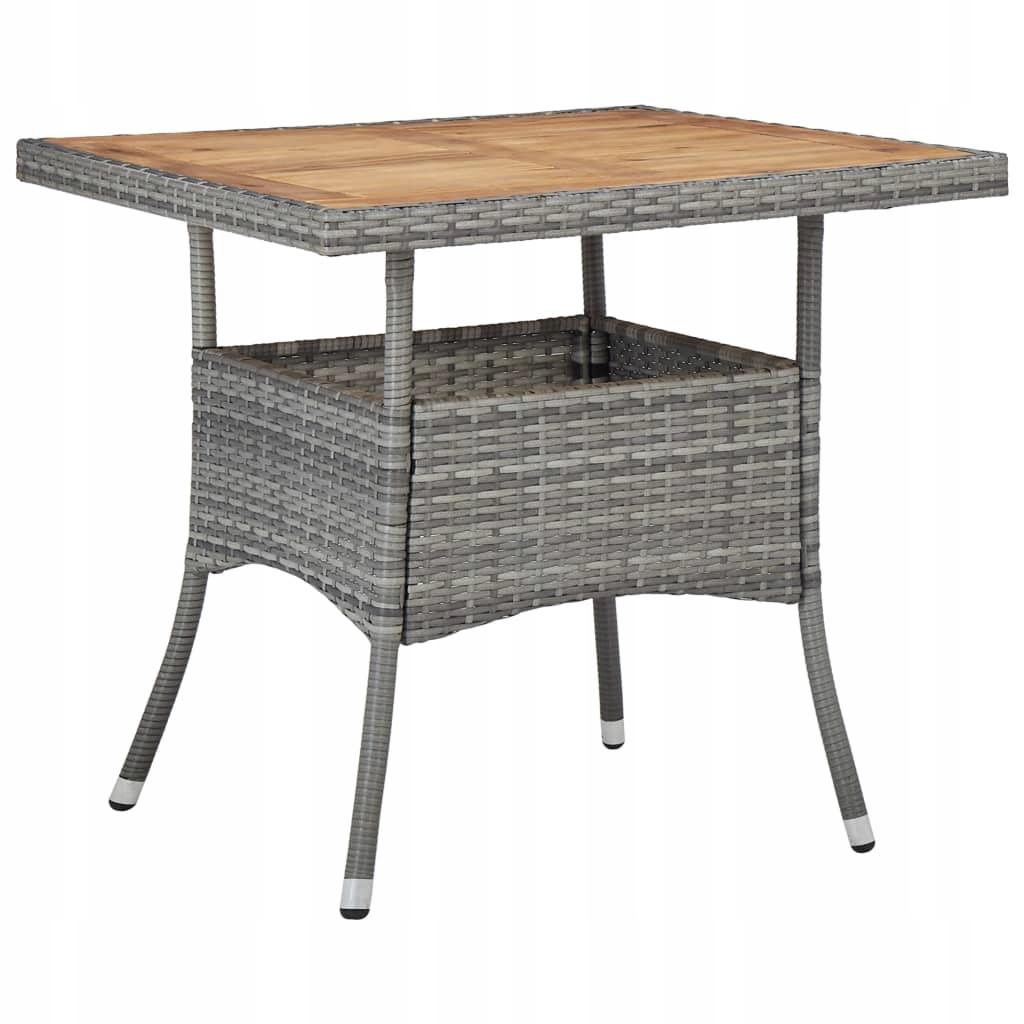 Stół ogrodowy, szary, polirattan i lite drewno aka