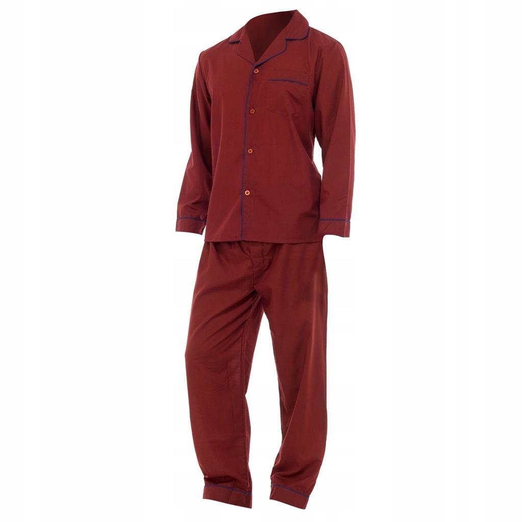 Męska gładka piżama koszula długi XXL Czerwony