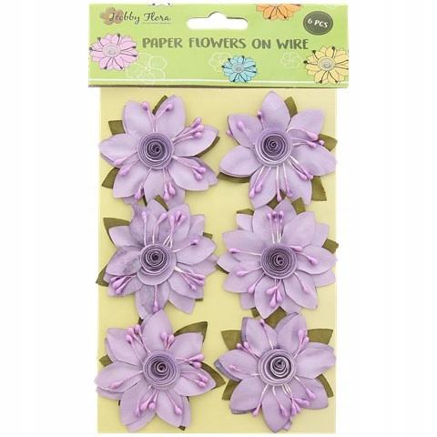Kwiaty papierowe 6 sztuk filetowe z pręcikami