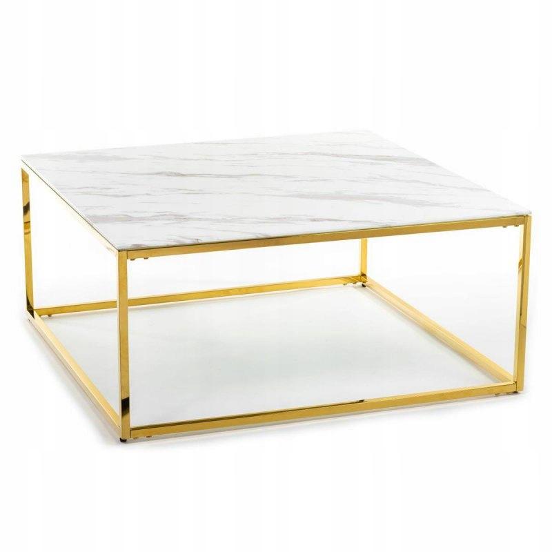 Stolik kawowy Rekta Gold White 100 cm