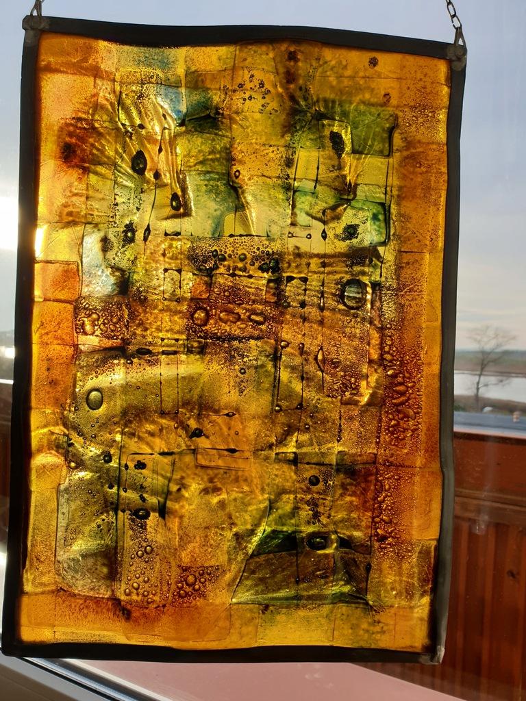 Panel szklany podwieszany, obraz fusingowy, art