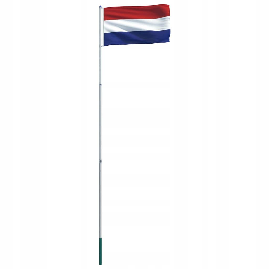Flaga Holandii VidaXL z aluminiowym masztem 6 m