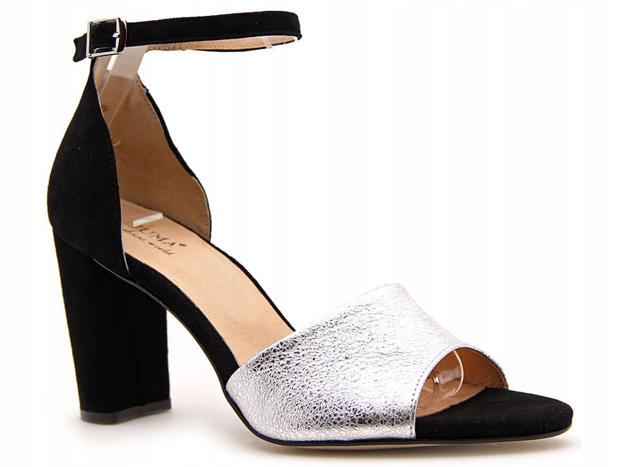 Sandały damskie skórzane na słupku czarno srebrne Juma 2663
