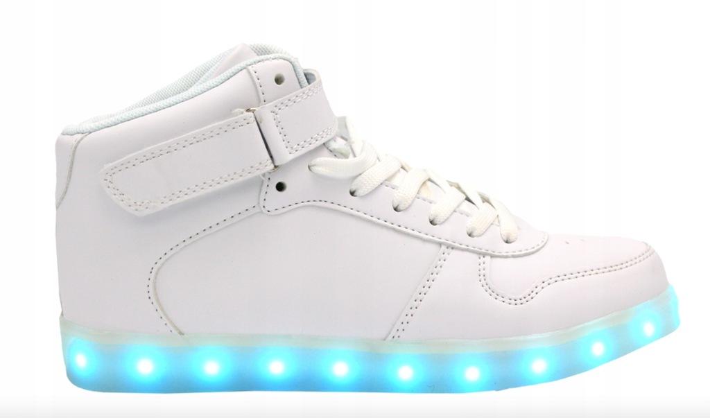 Świecące Buty LED Białe Ledowe Wysokie High r.39