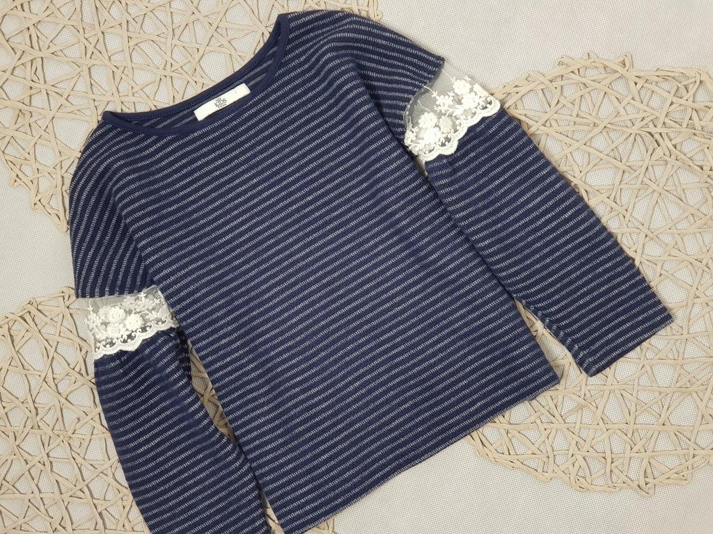 M&S Sweterek Paski Koronka Bufiasty Rękaw 116