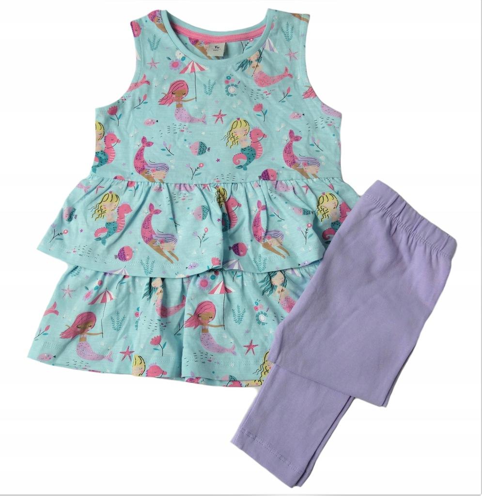 TU komplet sukienka z falbanami + legginsy 92 - 98