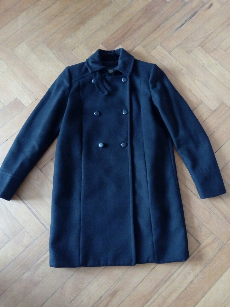 czarny klasyczny płaszcz Mango 38, M