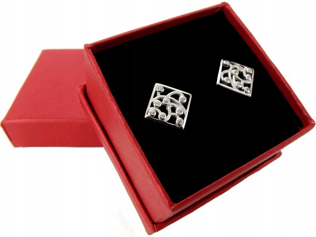 Srebrne Ażurowe Kolczyki Srebro 925 z Cyrkoniami