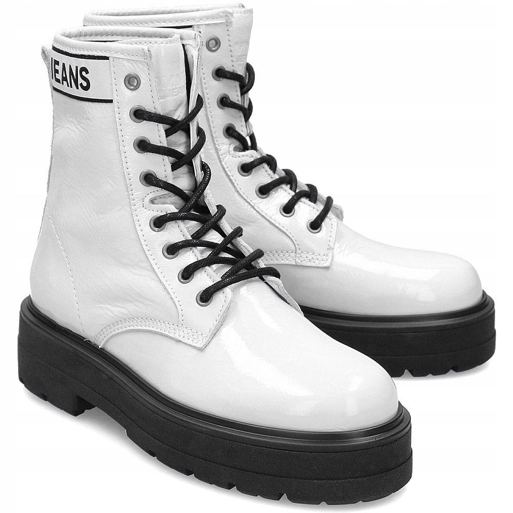 Tommy Jeans Białe Skórzane Trapery Damskie R.38