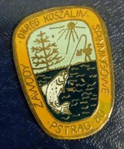 Odznaka wędkarska PZW Pstrąg 80 Koszalin