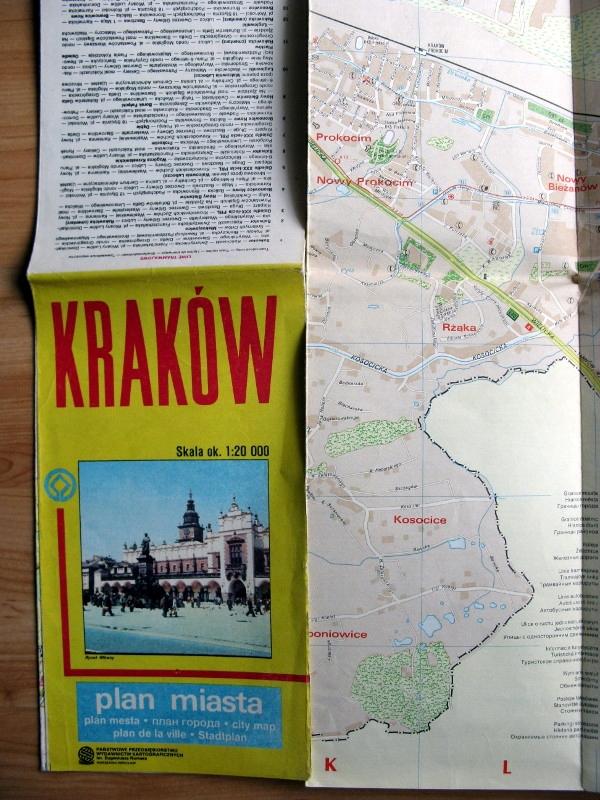 Stary plan miasta Kraków 1990