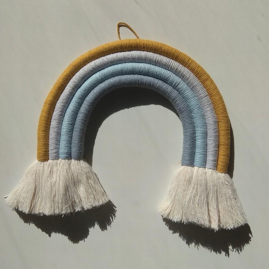 Tęcza ze sznurka, dekoracja w stylu boho