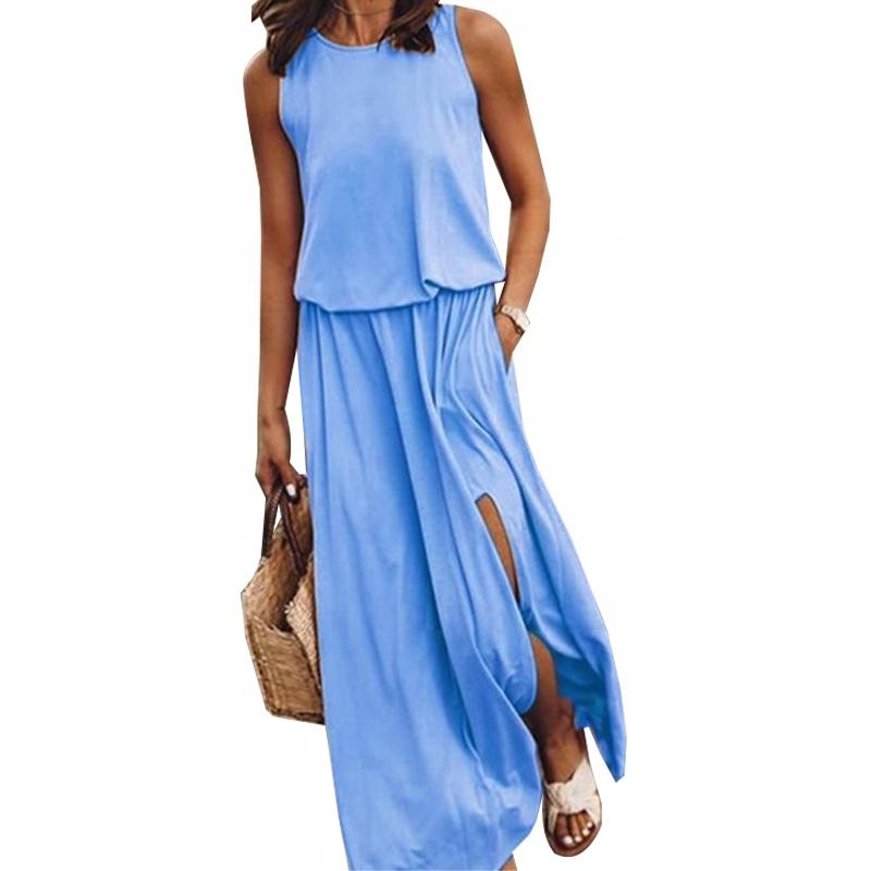 Długa sukienka bez rękawów dla kobiet rozdzielać