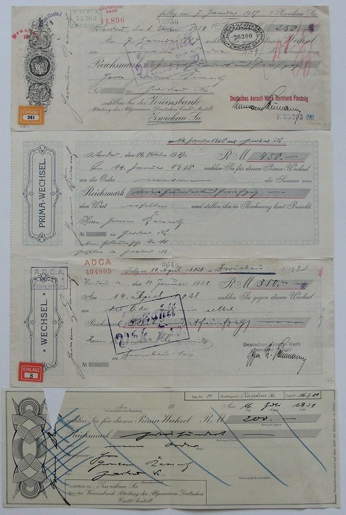 Niemcy - 4 weksle 1927-1929