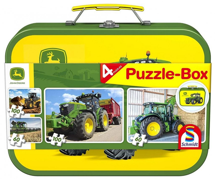 Puzzle 2x60 + 2x100 w walizce John Deere G3