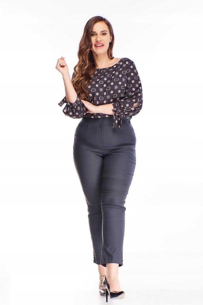 Bawełniane spodnie z wysokim stanem - Szary 50