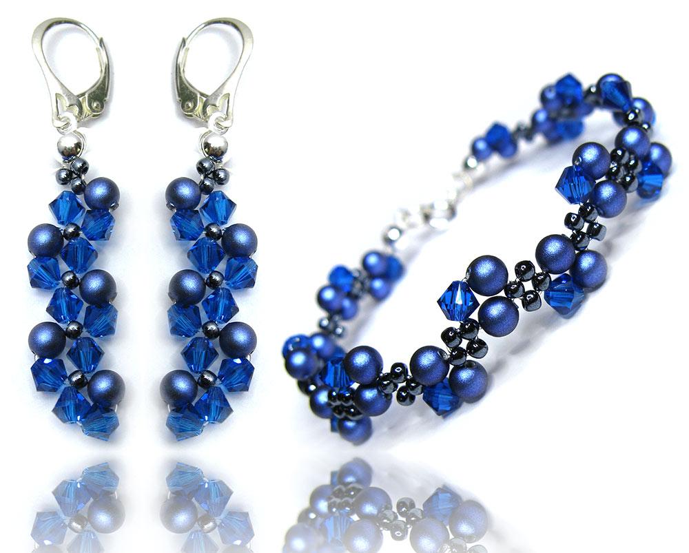 Komplet z kryształów i pereł Swarovski 364 BLUE