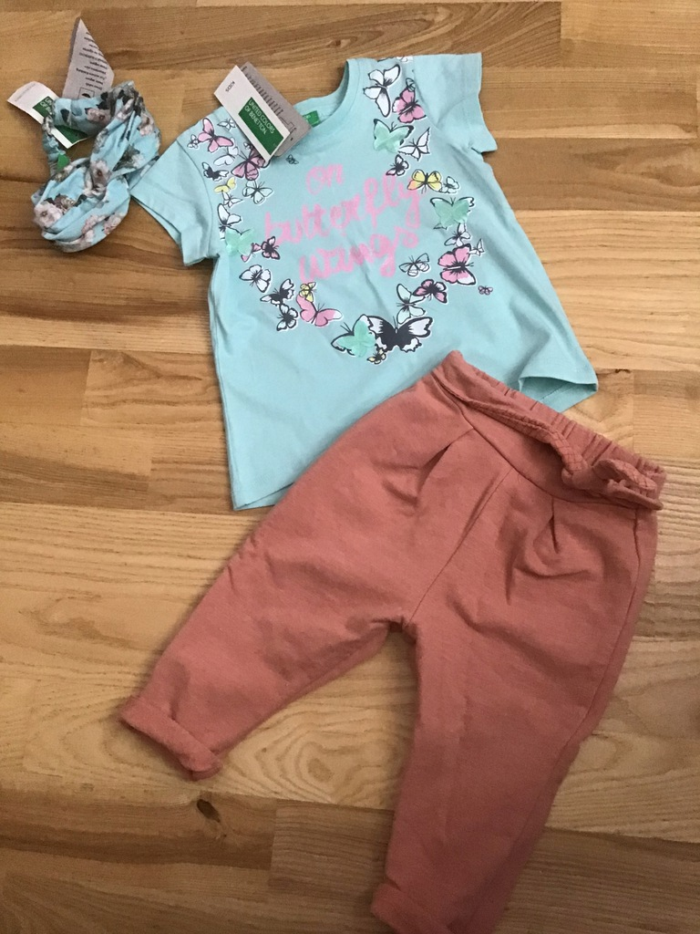 Zara spodnie benetton 80 86 komplet