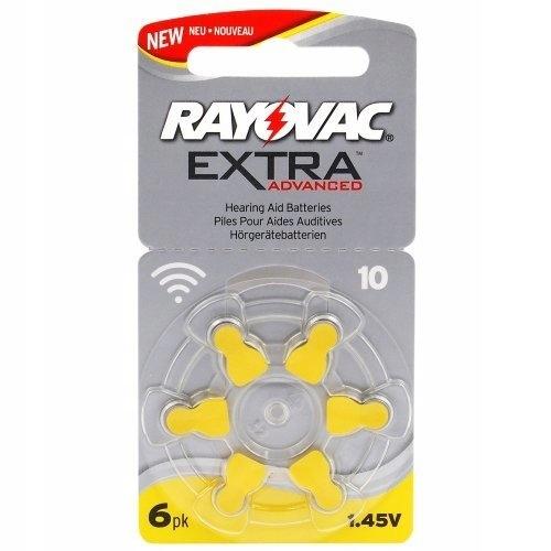 6x Baterie do aparatów słuchowych Rayovac Extra 10