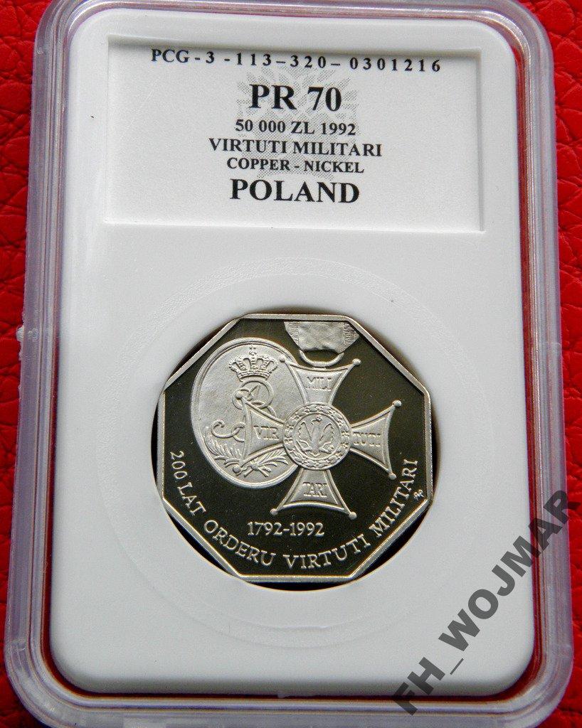 50000 ZŁ VIRTUTI MILITARI 1992 MS 70 PCG
