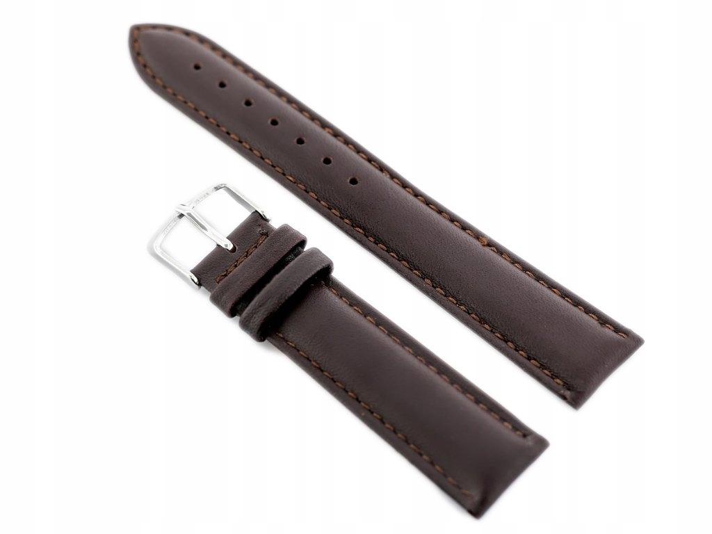 Pasek skórzany do zegarka W83L - ciemny brąz - 26m