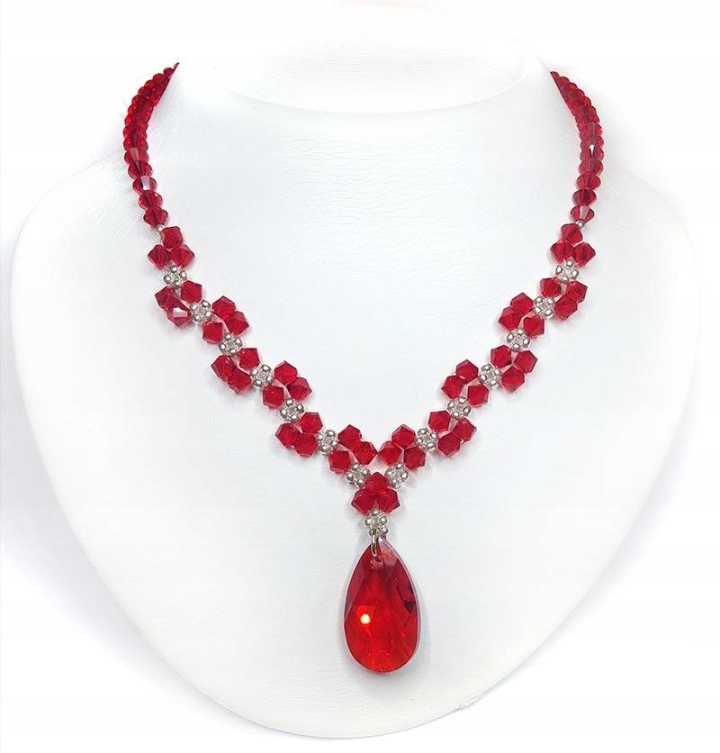 Naszyjnik z kryształów Swarovski L.Siam Czerwony