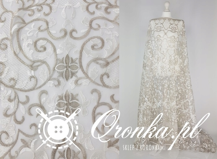 Koronka biało-srebrna 2 , tkanina, tiul