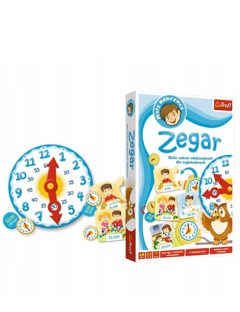 MAŁY ODKRYWCA Gra Edukacyjna Zegar 01123 TREFL 4+