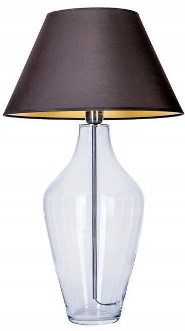 Lampa stołowa szklana z czarno złotym abazurem E27