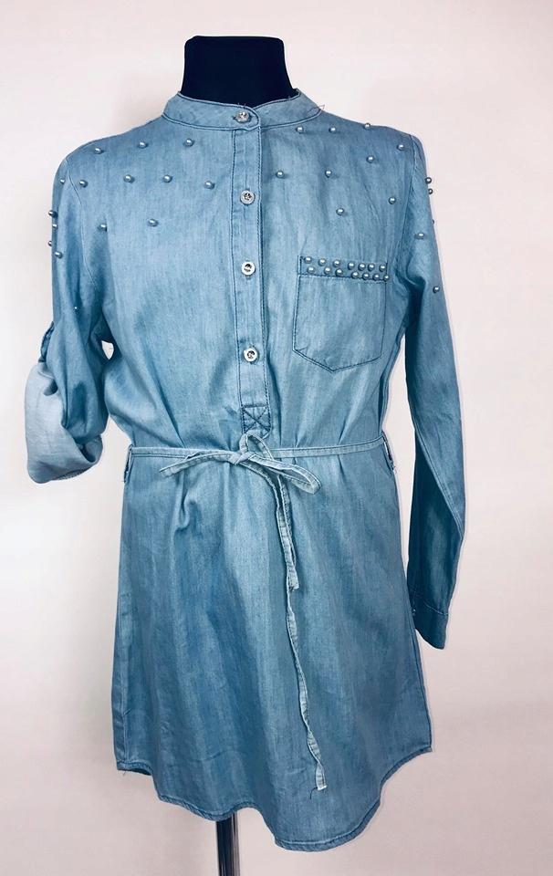 Tunika koszula Jeans perełki 104/110 bluzka dżins