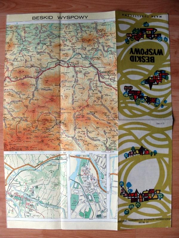 plan mapa turystyczna góry Beskid Wyspowy 1977