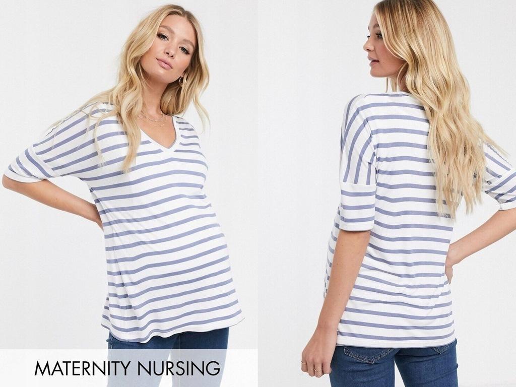 DESIGN luźna ciążowa bluzka w paski S/36